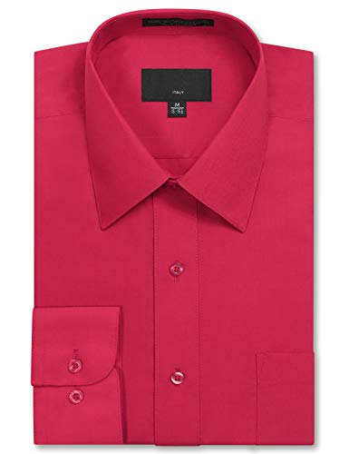 (JD Apparel Men's Long Sleeve Regular Fit Solid Dress Shirt 18-18.5 N 36-37 S Fuchsia,XX-Large )
