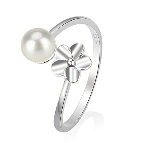 925 Sterling Silver Flower Open Ring for Women Pearl Jewelry Making, Design Pearl Ring Mounting for DIY Jewelry Making