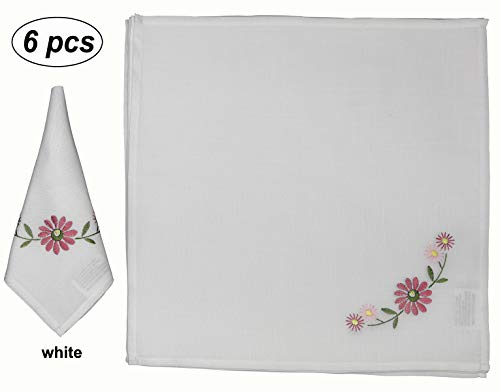 Creative Linens 6PCS Embroidered Daisy Napkins 17x17 White, Set of 6 Pieces