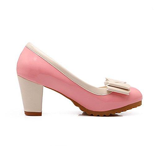 VogueZone009 Damen Rund Zehe Mittler Absatz Weiches Material Rein Ziehen auf Pumps Schuhe, Pink, 37