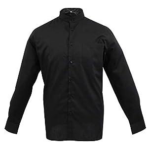 MISEMIYA Hombre Cuello Mao Camisa Basica Uniformes Camarero Caballero Trabajo 10