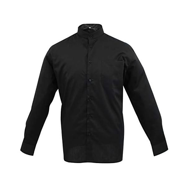 MISEMIYA Hombre Cuello Mao Camisa Basica Uniformes Camarero Caballero Trabajo 1