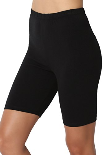TheMogan Women's Mid Thigh Cotton High Waist Active Short Leggings Black 2XL Low Rise Capri Leggings Pants