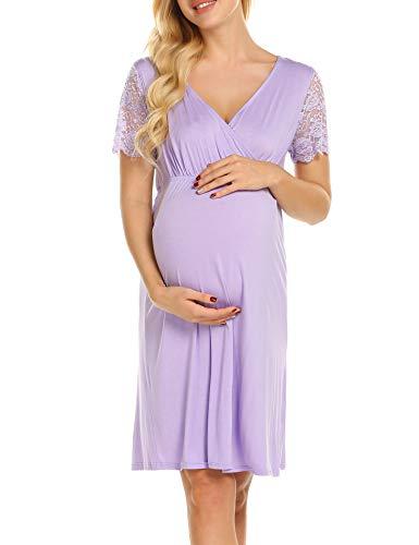 - MAXMODA Womens Pregnant Breastfeeding Dress Maternity Nursing Nightgown Lace Sleeve Sleepwear Light Purple
