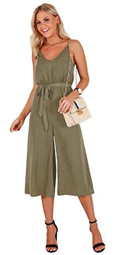- Longwu Women's Casual V-Neck Spaghetti Strap Sleeveless Wide Leg Jumpsuit Rompers with Belt Green-M