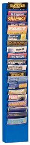 Durham 400-10 Blue Cold Rolled Steel 20 Contour Pocket Vertical Literature Rack, 9-3/4