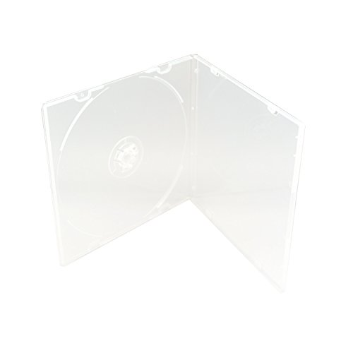 Clear Poly Case - Maxtek 5.2mm Durable CD Case, Slim Single Clear PP Poly Plastic Cases, 50 Pack.