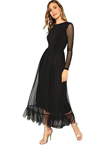 MakeMeChic Women's Elegant Contrast Lace Ruffle Hem Long Sleeve Wedding Cocktail Stretchy Long Dress Black XL