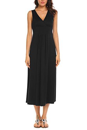 Funpor Women's Sleeveless V Neck Ruched Waist Long Maxi Dress ()
