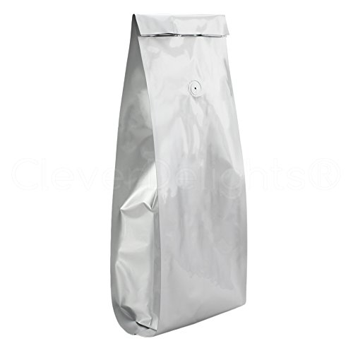 50 Pack - CleverDelights Silver Coffee Bags with Degassing Valve - 5 Pound Bags - Retail Packaging