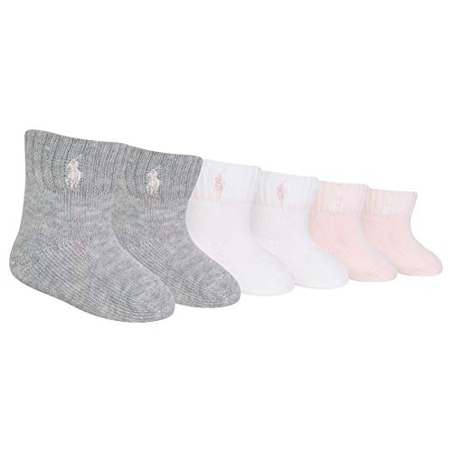 Polo Baby Socks for Girls with Polo Player (6 Pairs) Sweatshirt Grey, 0-6 Months (Baby) ()