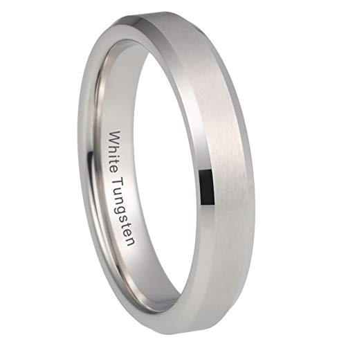 iTungsten 4mm White Tungsten Rings for Women Men Wedding Bands Matte Finish Beveled Edges Comfort Fit ()