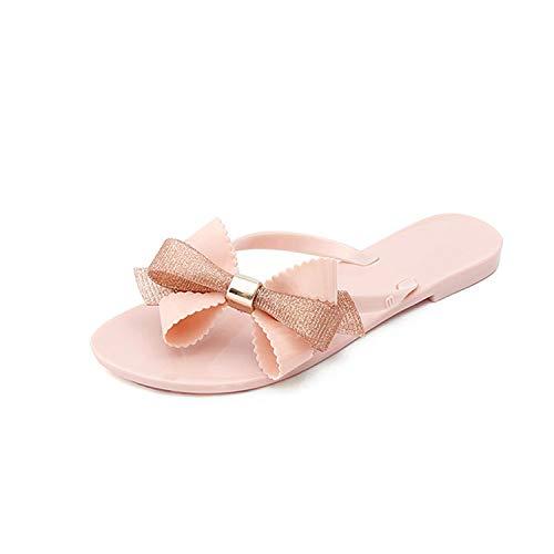 Beige Women Bow Cute PVC Slides Plus Size Shoes Bowtie Plastic Beach Slippers fqpBPEwpx