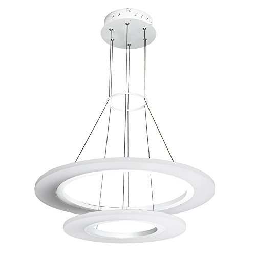 VONN VMC32300SW Modern Two-Tier Circular LED Chandelier Lighting with Adjustable Hanging Light White