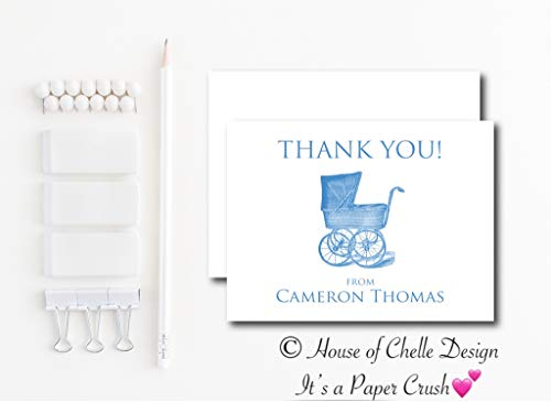 Personalized Baby Shower Thank You Cards - Baby Shower Thank You Notes - Set of 12 with Envelopes - VINTAGE BABY CARRIAGE BLUE
