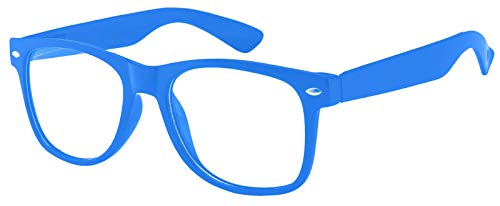 Classic Vintage Sunglasses 80's Style Frame Blue Color with Clear Lens OWL.