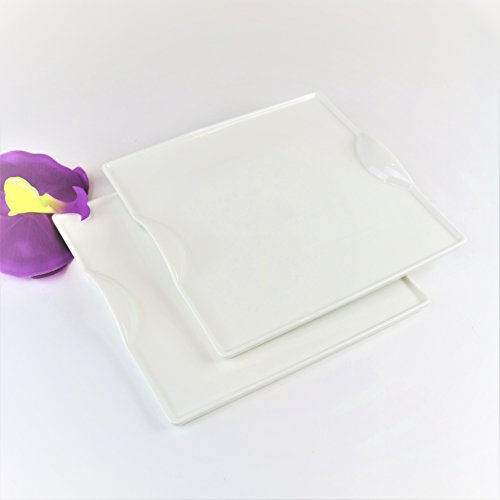 Little Porcelain - Modern Square White Porcelain Unique Dinnerware- set of 2-by Little White Dish-microwave dishwasher safe (Salad Plate)