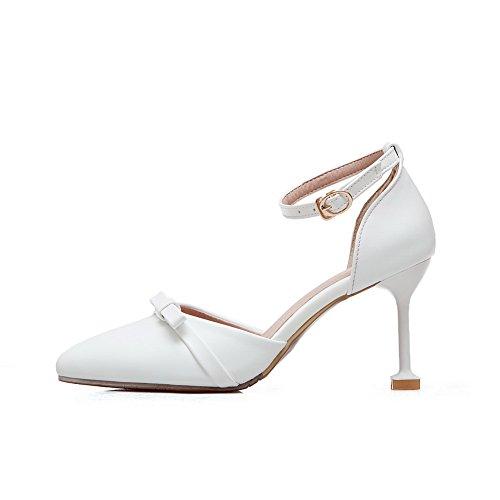 White Pumps Shoes BalaMasa Metal ASL04230 Womens Pointed Bows Toe Buckles Urethane AfRq1wA
