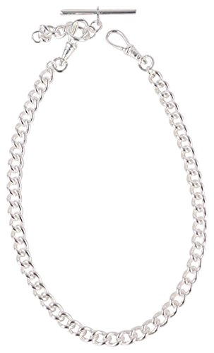 (David Van Hagen Mens Silver Plated Albert Large Curb Chain Double Clasp - Silver)