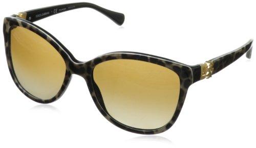 D&G Dolce & Gabbana Women's Iconic Logo Polarized Cateye Sunglasses, Animalier & Polarized Brown Gradient, 56 - And Sunglasses Dolce Gabbana Logo