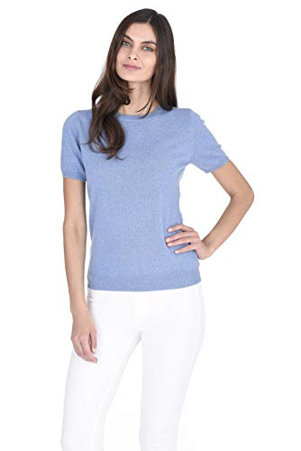 State Cashmere Short Sleeve Crew Top Sweater 100% Pure Cashmere Classic Jewel Neck Pullover Tee for Women (Medium, Baby Blue)