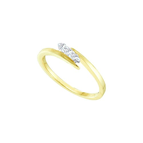 10kt Yellow Gold Womens Round Diamond 3-stone Promise Bridal Ring 1/10 Cttw by JawaFashion