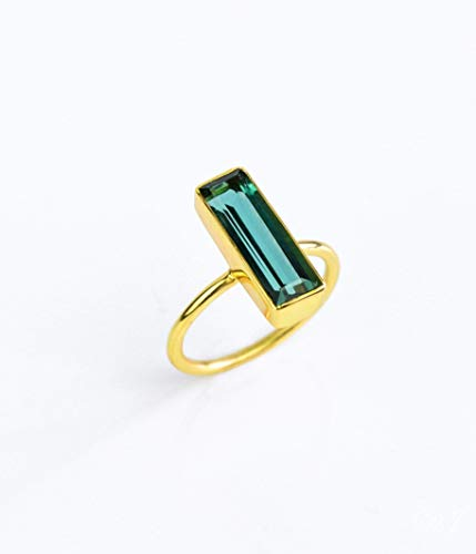 Green Tourmaline Gemstone Bar Ring, Geometric October Birthstone Ring, Adira Ring Series ()
