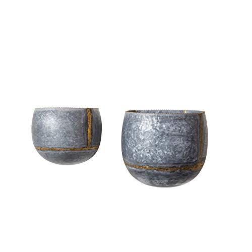 Creative Co-op DA8638-1 Silver & Gold Metal Wall Planters (Set of 2 Sizes) (Wall Planter Set)