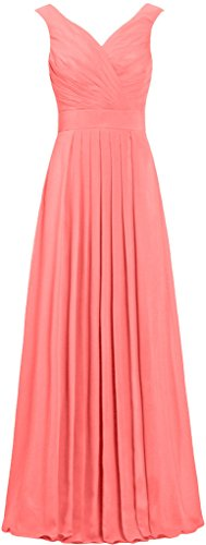 Chiffon Coral Straps Gowns Straight Long Dresses Formal ANTS Bridesmaid Prom YqTpRO7nw