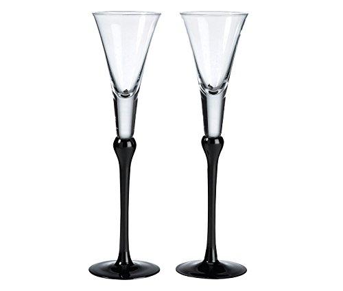 Black Flutes Stem (Lillian Rose Black Wedding Toasting Flutes Table Decor)