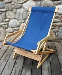 Sling Wood Recliner Beach Chair Fabric: Navy Blue