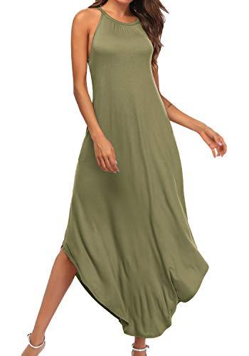 YiNai Womens Halter Long Dress Casual Summer Pocket Dress for Women Army Green M