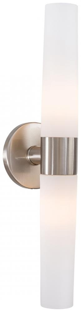 George Kovacs P5042-144, Saber 2-Light Bath Fixture, Brushed Stainless Steel