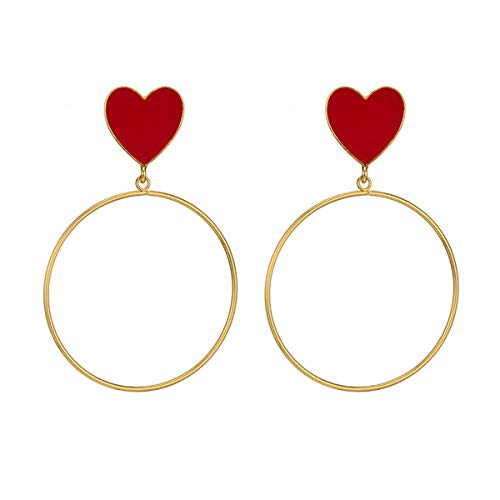 Red Heart Big Gold Loop Dangle Earrings For Women Lady's Chic Heart Love Earring For Party Jewelry Gift