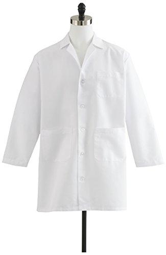 Medline Healthcare MDT12WHT44E Men's Staff Length Lab Coat, Size 44, White