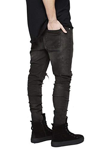 Denim Effetto Elasticizzati Alla Uomo Jeans Slim Nero Casual Buco Da Fit Vintage Moda Pantaloni PqgafwtT