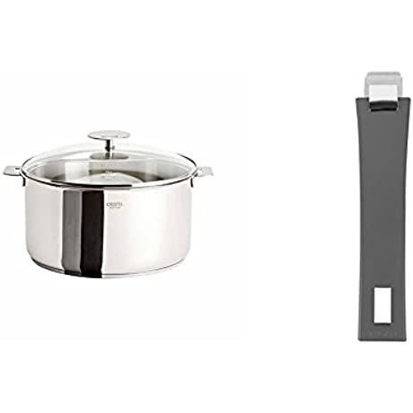 Cristel Casteline F22QMPKP Stewpan 4 5 Quart Silver With Cristel Mutine Pmag Handle Long Grey