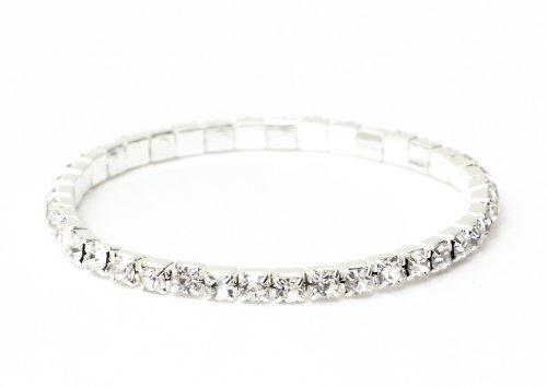 Magic Metal Single Crystal Strand Bracelet Gems Silver Tone BB27 Sparkle Bling Stretch Wrist Cuff Fashion Jewelry