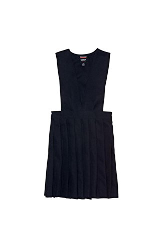 French Toast Big Girls' V-Neck Pleated Jumper, Navy, 7 School Uniform Jumper Dress