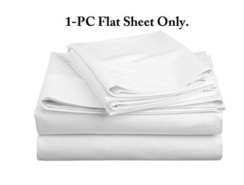 Flow's Linen Original 1200-THREAD-COUNT Luxury Soft 100% Heavy Egyptian Cotton { 1-PC } Flat Sheet (Top Sheet) Solid Pattern (White) Full Size