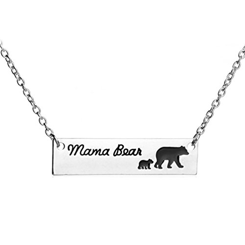 Pendant Mama 1 (Mama Bear Necklace with 1 Cub Baby Mother and Child Bar Pendant for Women Girl Mom Charm)