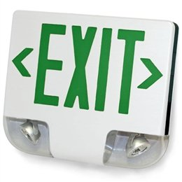 STANDARD DIE-CAST ALUMINUM LED EXIT SIGN & EMERGENCY COMBO - GREEN LETTERING COLOR WITH WHITE HOUSING COLOR - WITH 90 MINUTE BATTERY BACK-UP