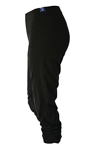Cintura 07 Lado Ruched Robell Señoras Alta Bengalin Capri Stretch Susan Pantalones Negro 8fwBqE5B