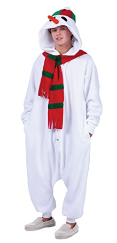OvedcRay Snowman Adult Funsie Costume White Christmas Snow Man Pajamas Costumes Jumpsuit -