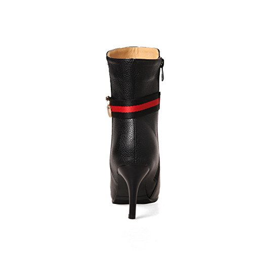 Ankle A Strap Mid Black Boots Urethane Charms Leather AN Womens Boots Closed Tuxedo DKU01690 Zip and Toe Stripes Synthetic Heel amp;N fdwxqg