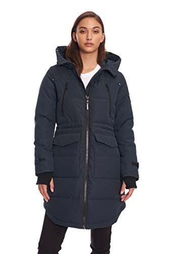 Alpine North Womens Vegan Down Drawstring Winter Parka, Navy, L (Coat Parka Arctic)
