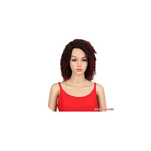 Soft Short Synthetic Wigs For Black Women 14Inch High Temperature Fiber Dreadlock Burg Crochet Twist Hair,T1B-118,14inches ()