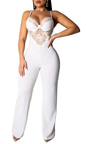 Womens Sexy Spaghetti Strap Lace Jumpsuits Sleeveless Bodycon Long Pants Bodysuits White