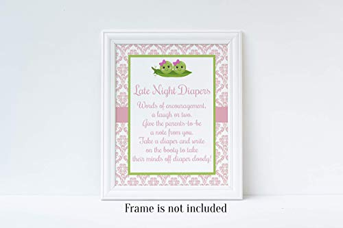 Two Peas in a Pod Baby Shower, Late Night Diapers, Pink Damask, Twins Baby Shower, Girls Baby Shower, Baby Shower Game, Diaper Baby Shower Game, 8x10 Glossy Sign -