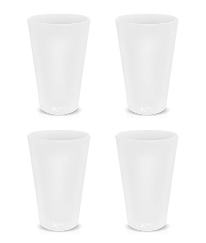 Frosted Pint Glass (Silicone Pint Glasses, Patented Unbreakable Pint Glass from Silipint, Set of 4 Frosted White, 16oz each)